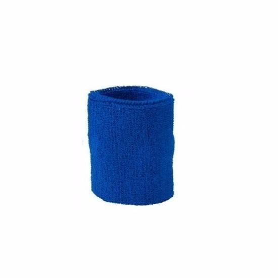 Blauw zweetbandje voor pols