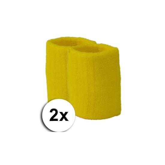 Gele pols zweetbandjes 2 stuks