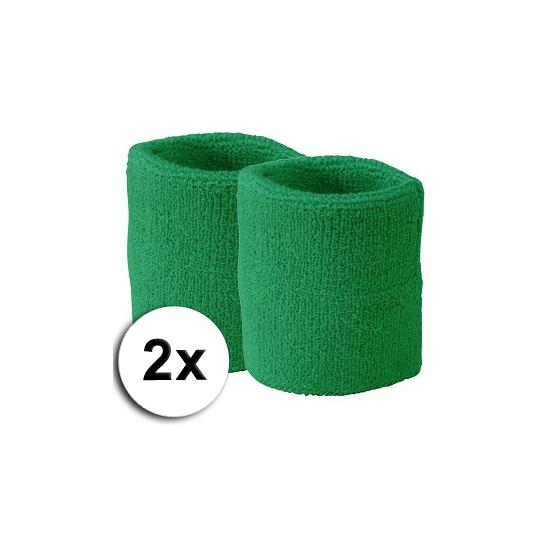 Groene pols zweetbandjes 2 stuks
