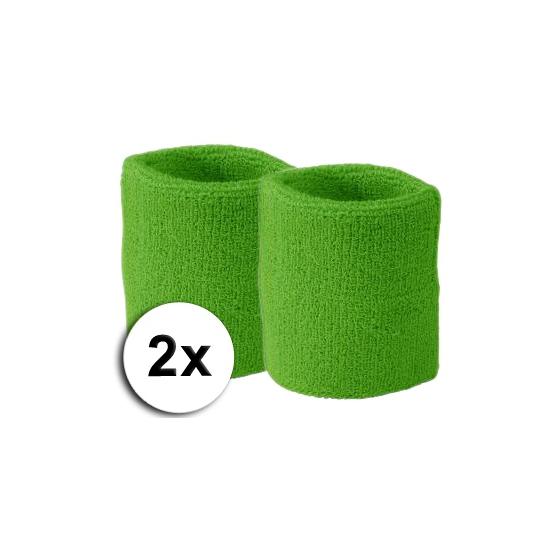 Lime pols zweetbandjes 2 stuks
