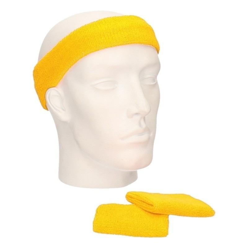 Zweetbandjes sportset geel