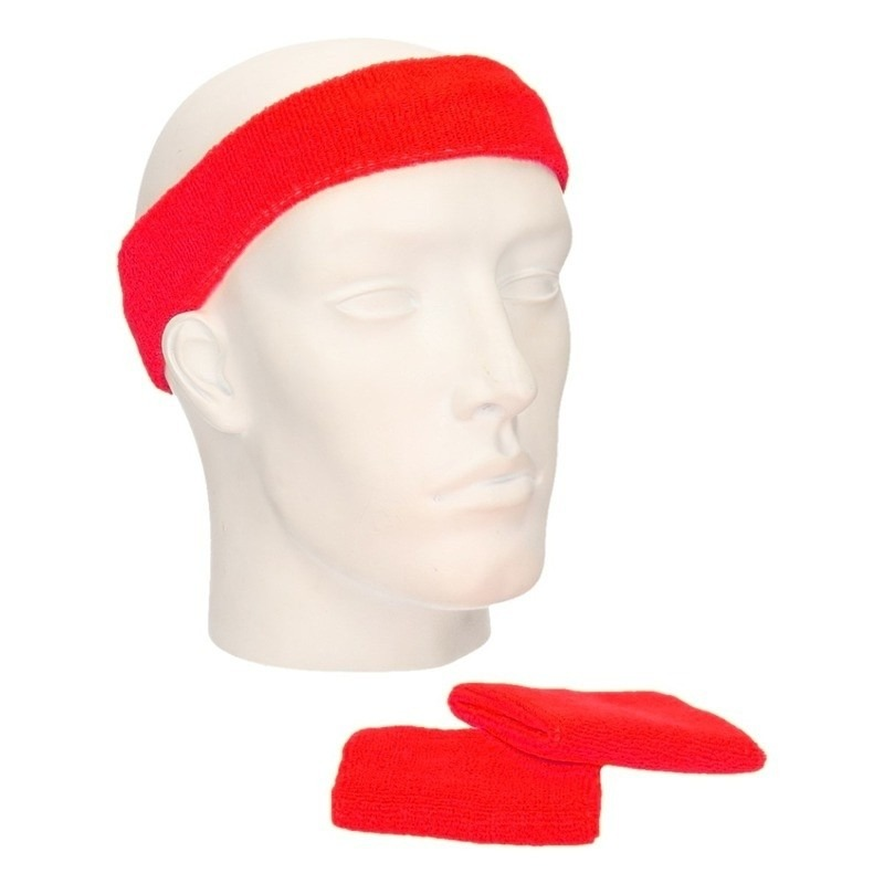 Zweetbandjes sportset rood