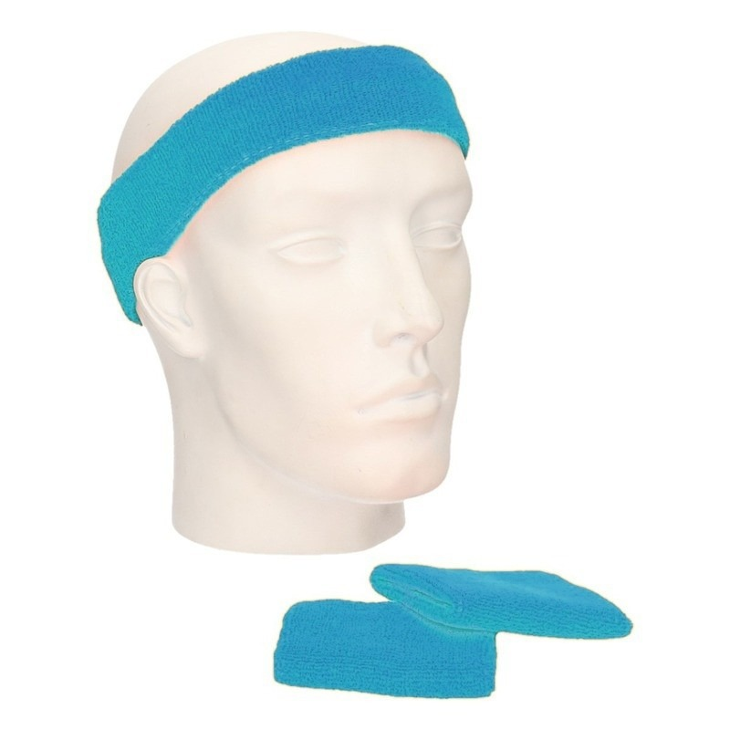 Zweetbandjes sportset turquoise