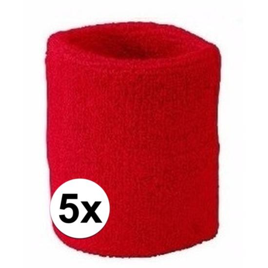 5x rood zweetbandje voor pols