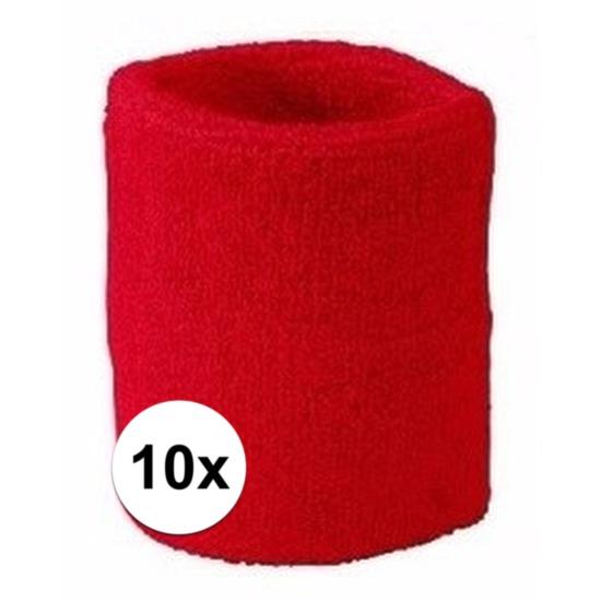 10x rood zweetbandje voor pols