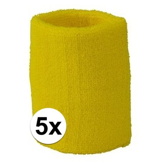 5x geel zweetbandje voor pols
