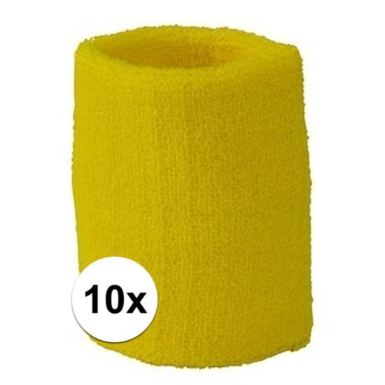 10x geel zweetbandje voor pols