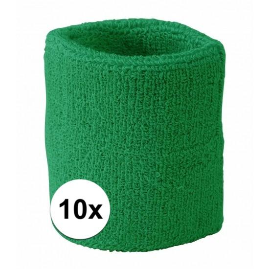 10x groen zweetbandje voor pols