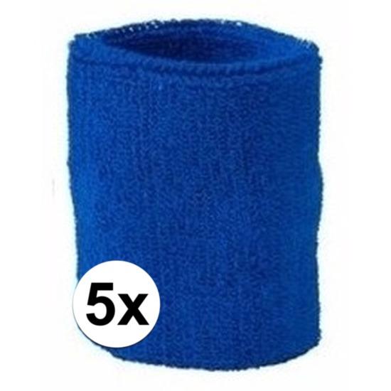 5x kobalt blauw zweetbandje voor pols