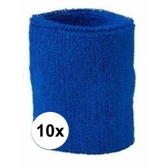 10x kobalt blauw zweetbandje voor pols