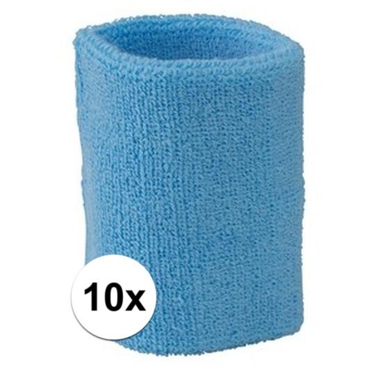 10x lichtblauw zweetbandje voor pols