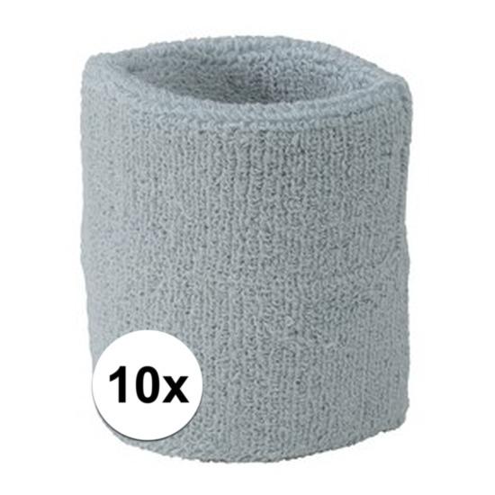 10x lichtgrijs zweetbandje voor pols