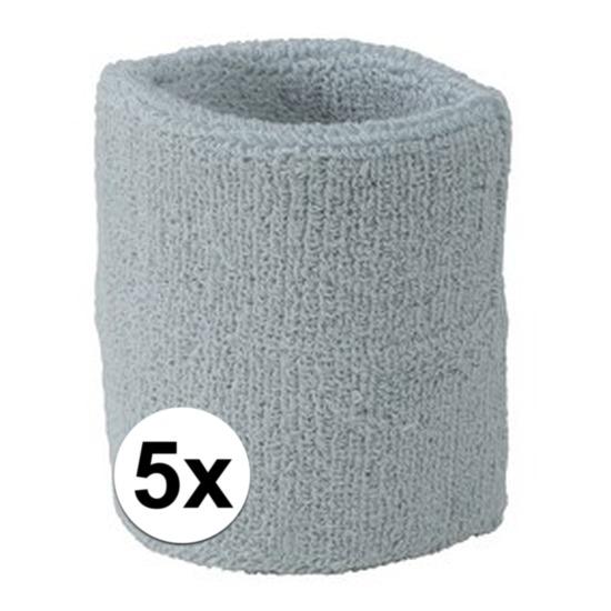 5x lichtgrijs zweetbandje voor pols