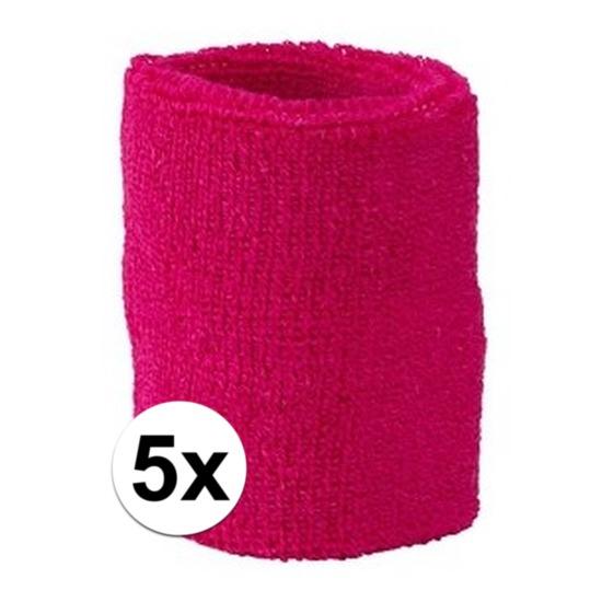 5x fuchsia roze zweetbandje voor pols