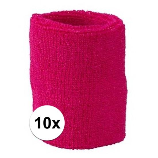 10x fuchsia roze zweetbandje voor pols