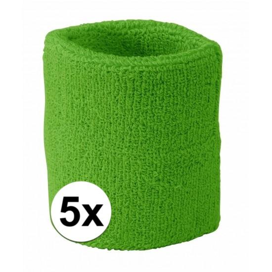 5x limegroen zweetbandje voor pols