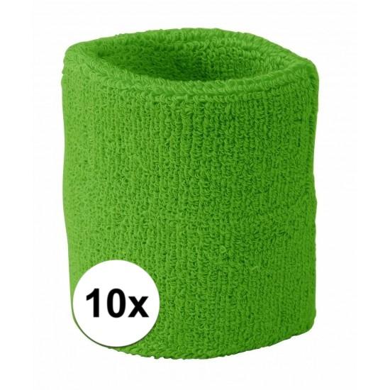 10x limegroen zweetbandje voor pols