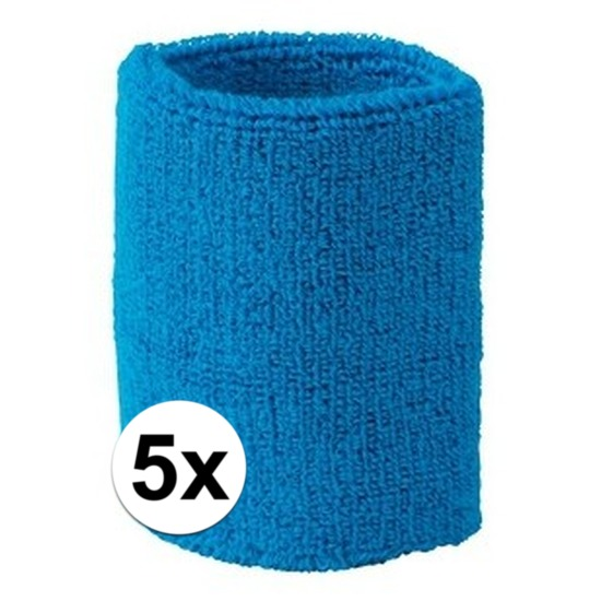 5x aqua blauw zweetbandje voor pols