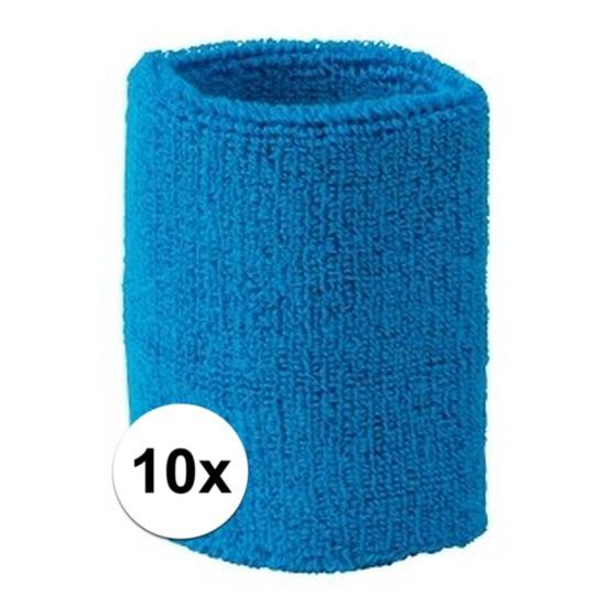 10x aqua blauw zweetbandje voor pols