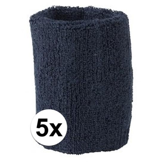 5x navy blauw zweetbandje voor pols