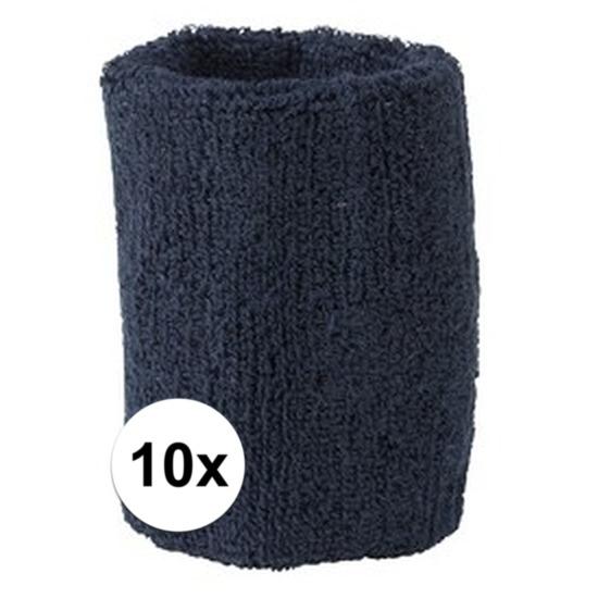 10x navy blauw zweetbandje voor pols