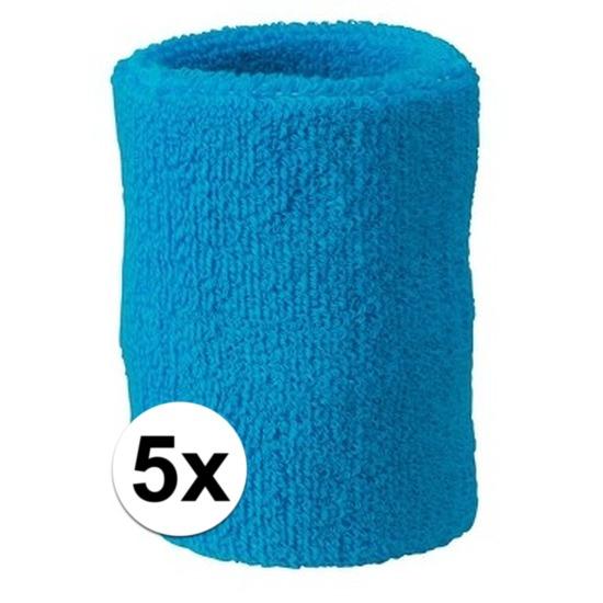 5x turquoise blauw zweetbandje voor pols