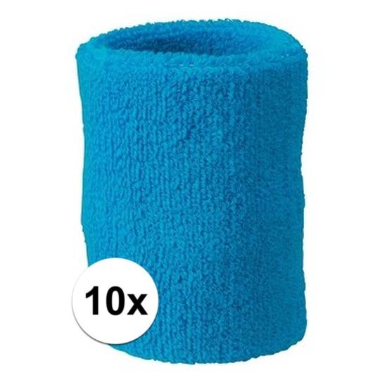 10x turquoise blauw zweetbandje voor pols