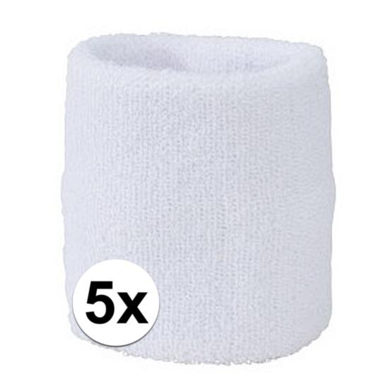 5x wit zweetbandje voor pols