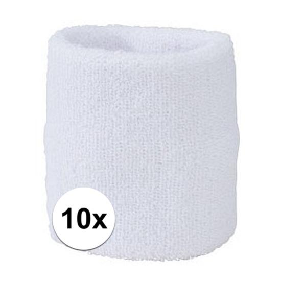 10x wit zweetbandje voor pols