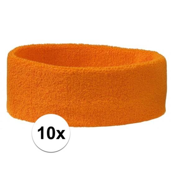10x hoofd zweetbandje oranje