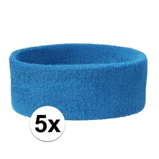 5x hoofd zweetbandje aqua blauw