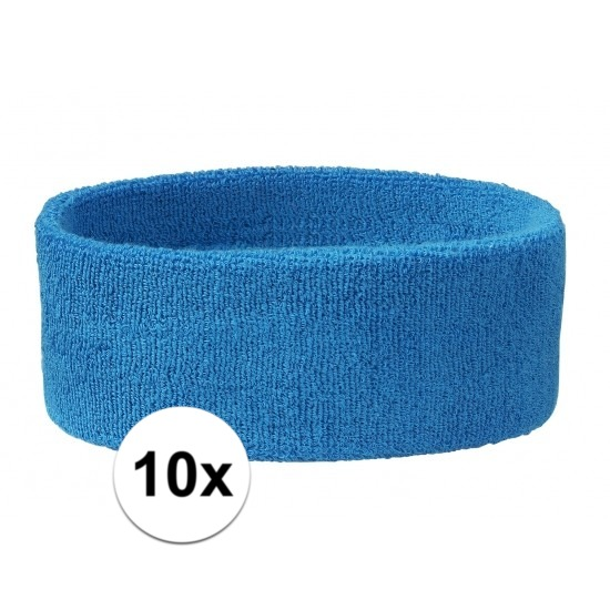 10x hoofd zweetbandje aqua blauw