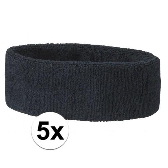 5x hoofd zweetbandje navy blauw