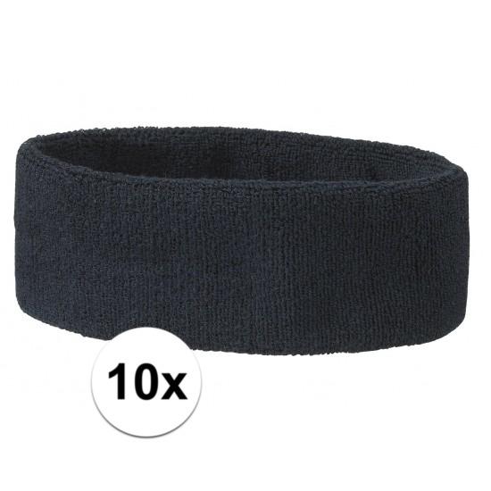 10x hoofd zweetbandje navy blauw