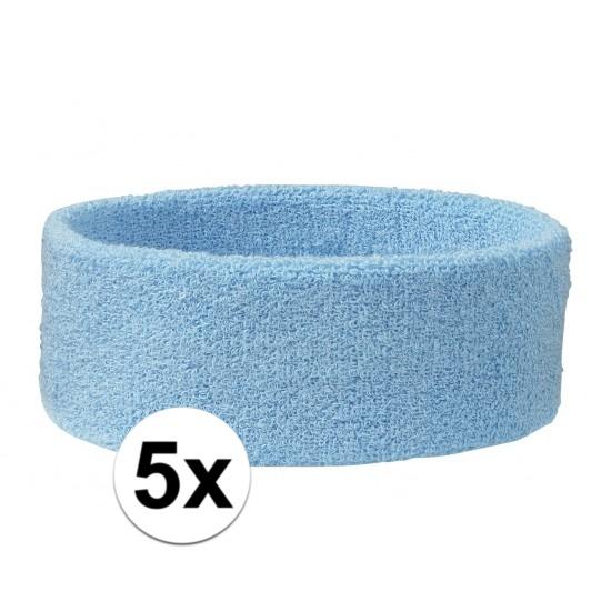 5x hoofd zweetbandje lichtblauw
