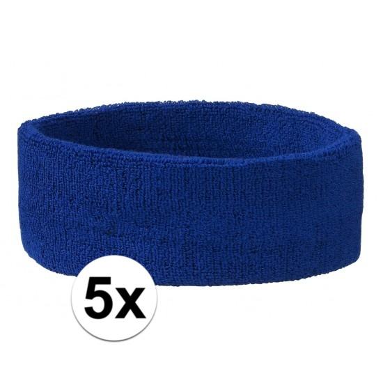 5x hoofd zweetbandje kobalt blauw