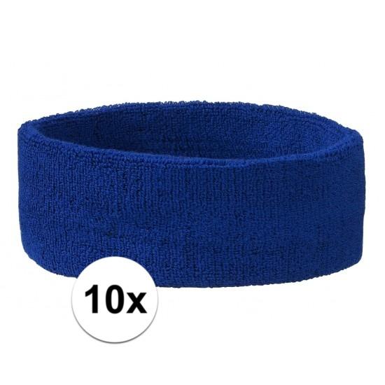 10x hoofd zweetbandje kobalt blauw