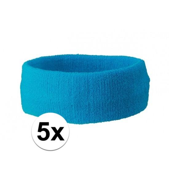 5x hoofd zweetbandje turquoise blauw