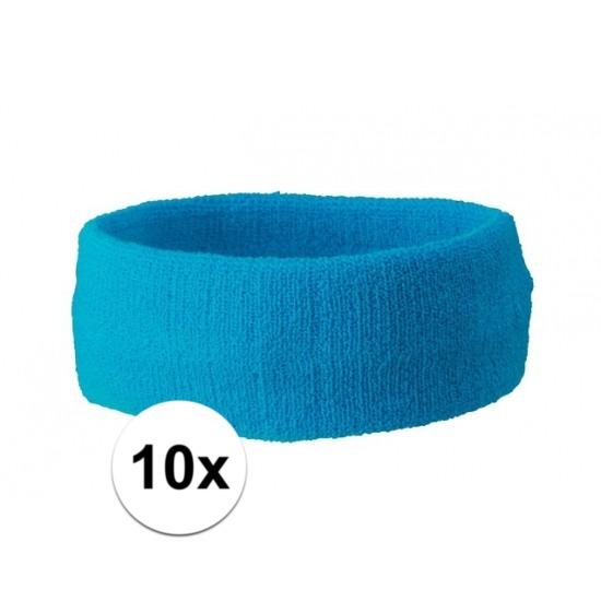 10x hoofd zweetbandje turquoise blauw
