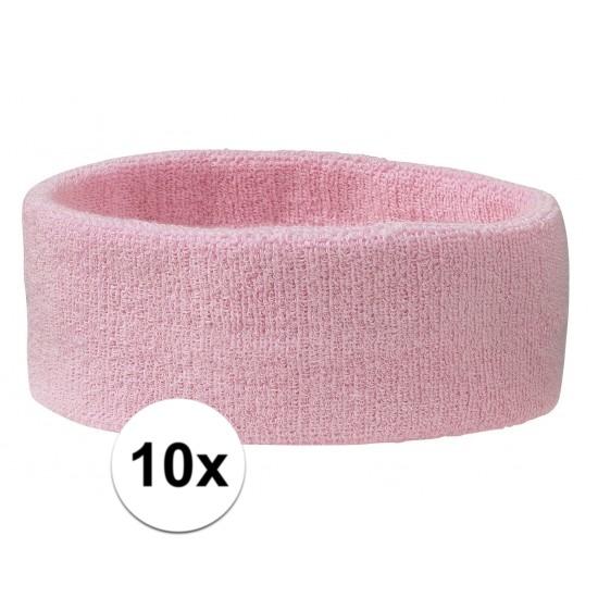 10x hoofd zweetbandje lichtroze