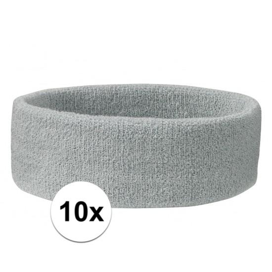 10x hoofd zweetbandje lichtgrijs