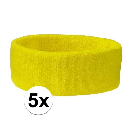 5x hoofd zweetbandje geel