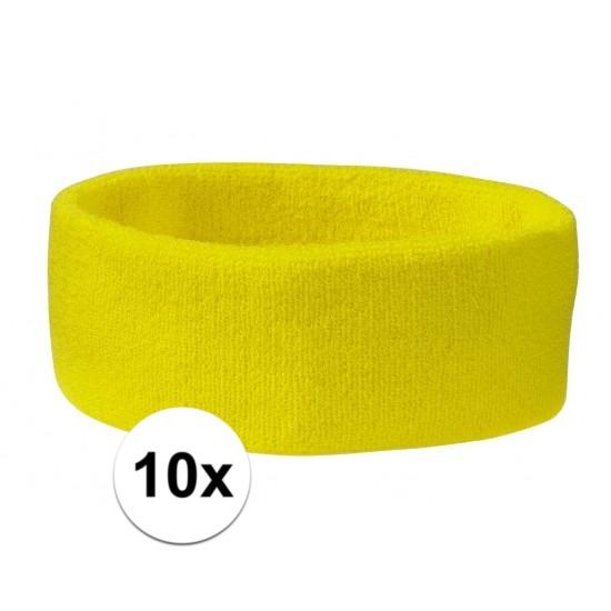 10x hoofd zweetbandje geel