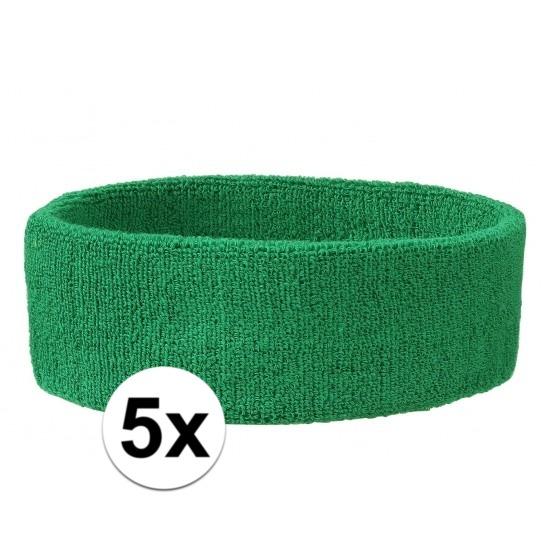 5x hoofd zweetbandje groen