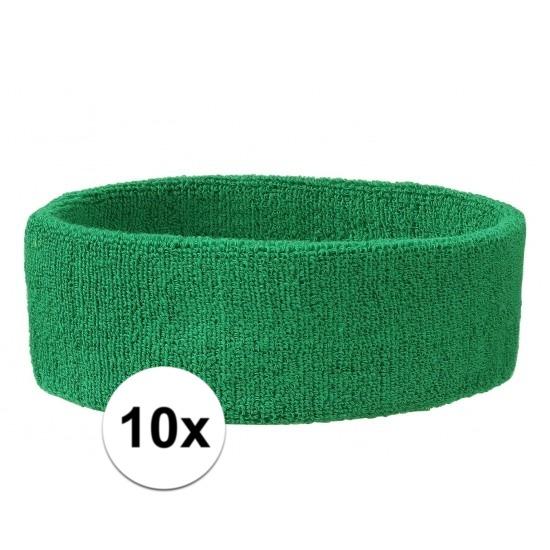 10x hoofd zweetbandje groen