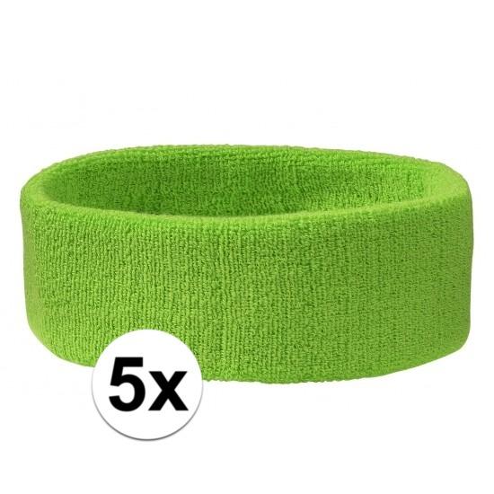 5x hoofd zweetbandje lime groen