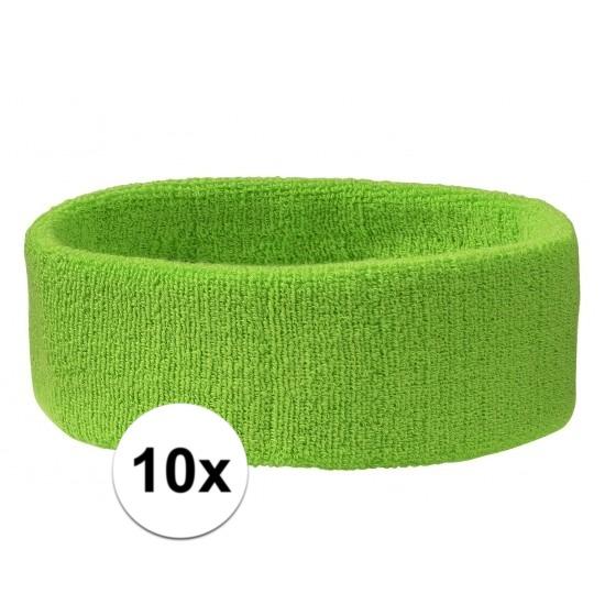 10x hoofd zweetbandje lime groen