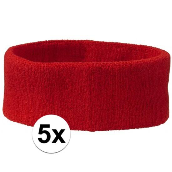 5x hoofd zweetbandje rood