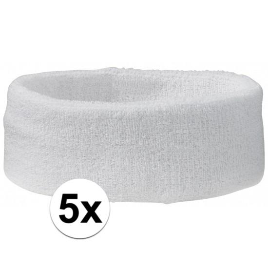 5x hoofd zweetbandje wit
