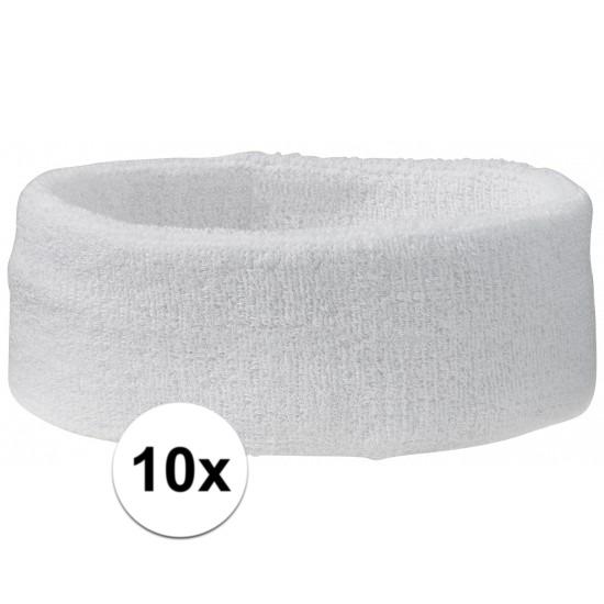10x hoofd zweetbandje wit
